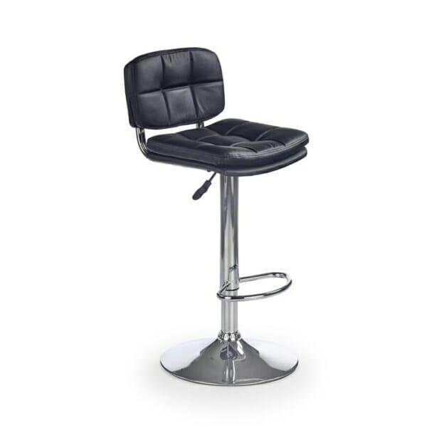 Бар стол от черна еко кожа с повдигащ механизъм