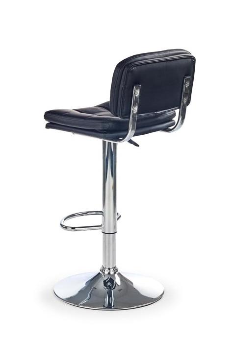 Бар стол от черна еко кожа с повдигащ механизъм - диагонал