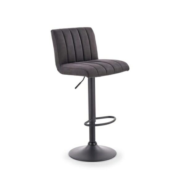 Бар стол от еко кожа и метал в тъмносиво и черно