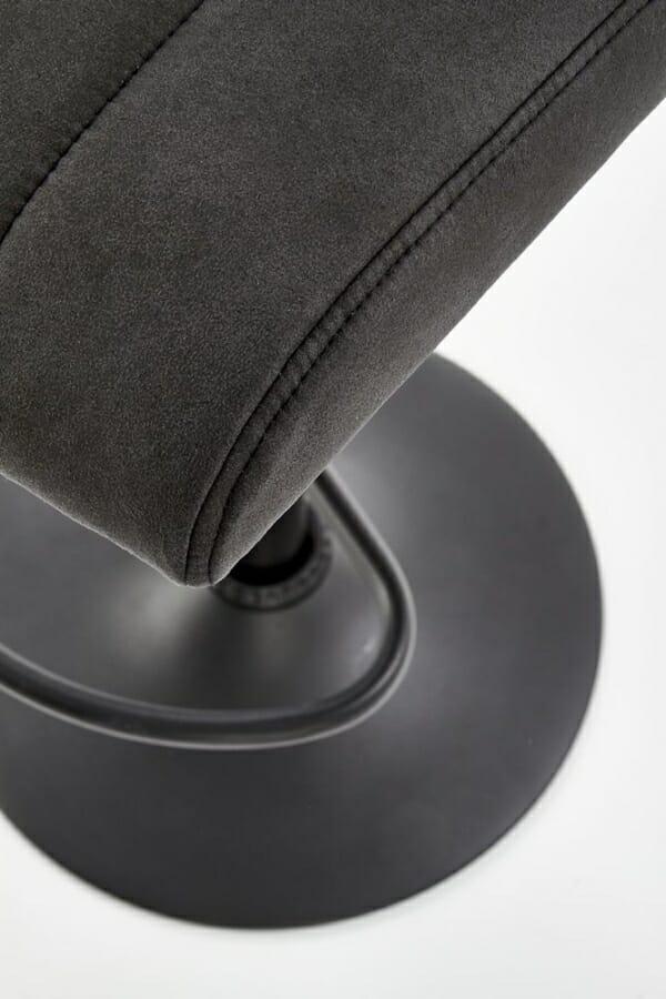 Бар стол от еко кожа и метал в тъмносиво и черно - седалка