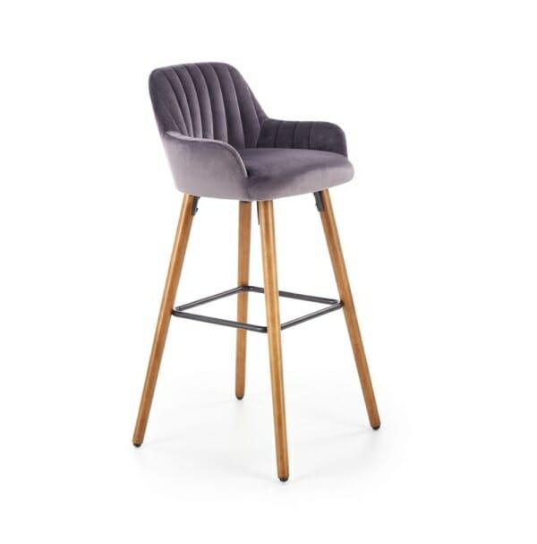 Бар стол от масивно дърво с текстилна дамаска (2 цвята)
