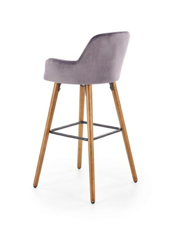 Бар стол от масивно дърво с текстилна дамаска (2 цвята) - диагонал