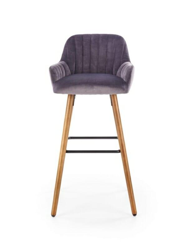 Бар стол от масивно дърво с текстилна дамаска (2 цвята) - отпред