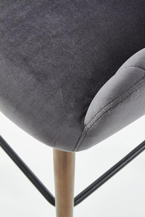 Бар стол от масивно дърво с текстилна дамаска (2 цвята) - седалка