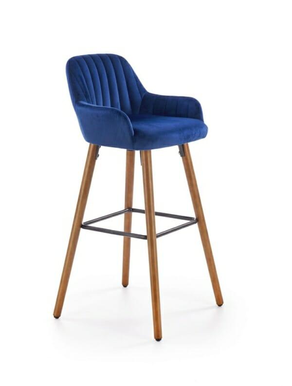 Бар стол от масивно дърво с текстилна дамаска (2 цвята) - тъмносин