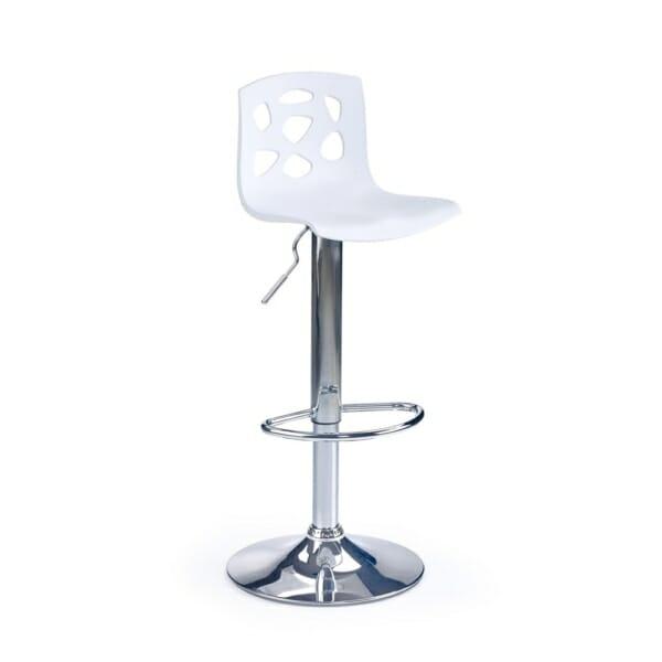 Бар стол с пластмасова седалка и облегалка с дупки (2 цвята)