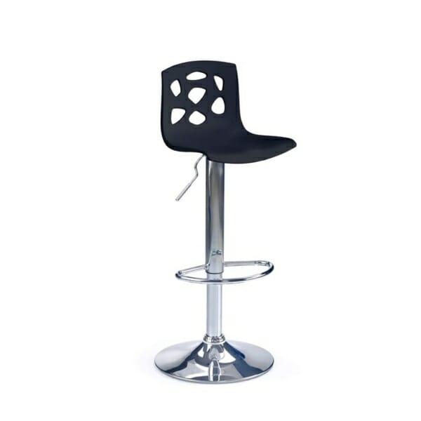 Бар стол с пластмасова седалка и облегалка с дупки (2 цвята) - черен