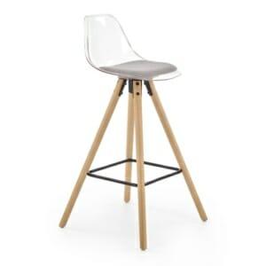 Бар стол с прозрачна облегалка и седалка от еко кожа (2 цвята)