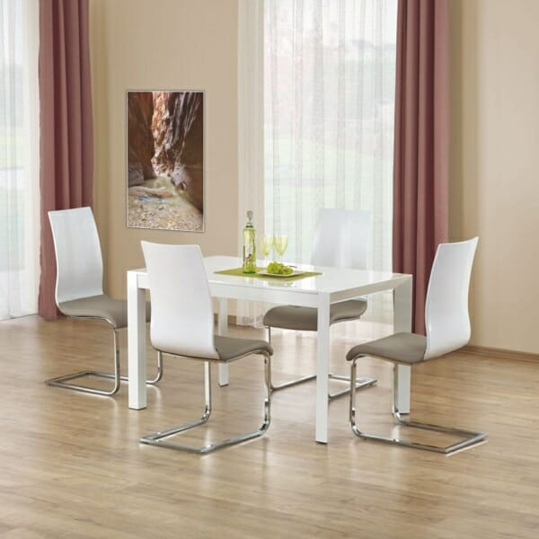 Бяла разтегателна маса с класическа конструкция (2 варианта)