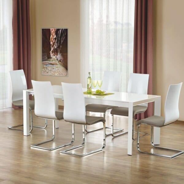 Бяла разтегателна маса с класическа конструкция (2 варианта) - голяма