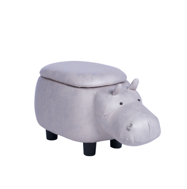 Детска табуретка във формата на хипопотам - сив