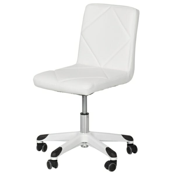 Детски офис стол с повдигащ механизъм в бяло - диагонал