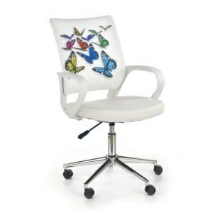 Детски офис стол в бяло с принт на пеперуди