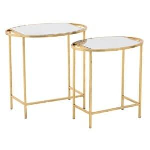 Две златни масички с огледален плот
