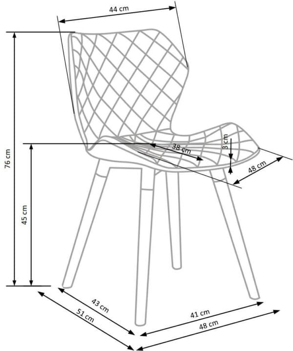 Двуцветен стол от текстил еко кожа и дърво (2 цвята) - схема