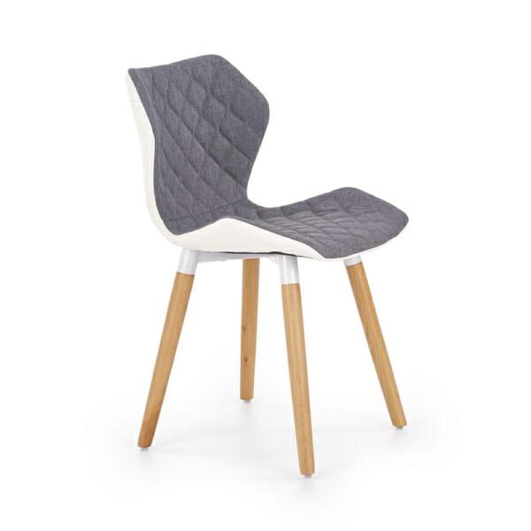 Двуцветен стол от текстил еко кожа и дърво (2 цвята) - сив
