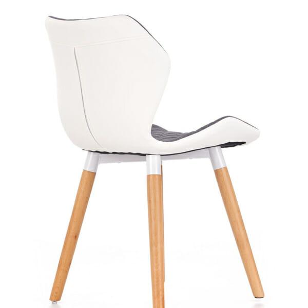 Двуцветен стол от текстил еко кожа и дърво (2 цвята) - сив гръб