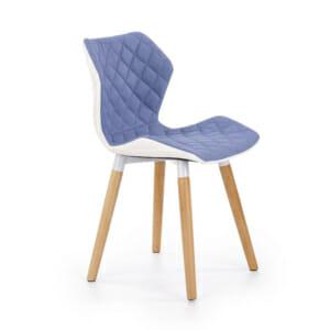 Двуцветен стол от текстил еко кожа и дърво (2 цвята) -светлосин