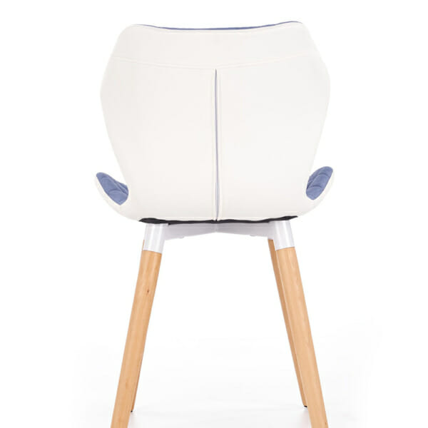 Двуцветен стол от текстил еко кожа и дърво (2 цвята) - светлосин гръб