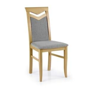 Дървен трапезен стол с текстилна дамаска (7 цвята) - меден дъб