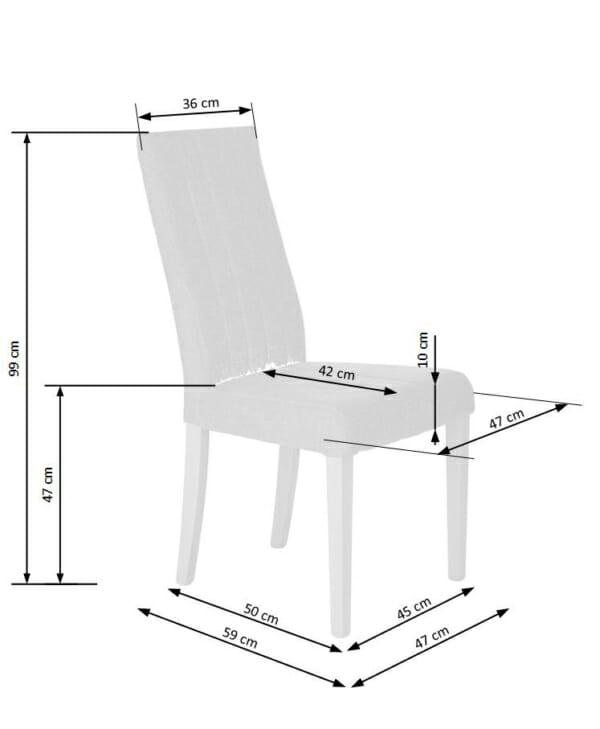 Елегантен трапезен стол с дамаска и дървени крака (4 цвята) -схема