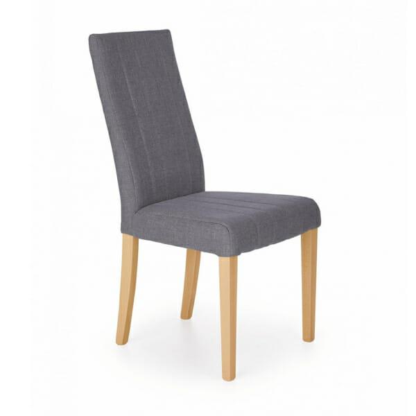 Елегантен трапезен стол с дамаска и дървени крака (4 цвята) -тъмносив