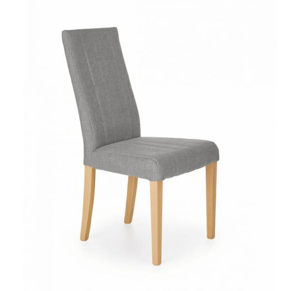 Елегантен трапезен стол с дамаска и дървени крака (4 цвята) -светлосив