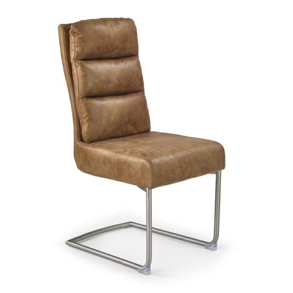 Кафяв стол с мека облегалка от еко кожа и метална основа
