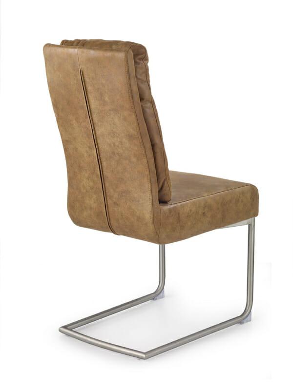 Кафяв стол с мека облегалка от еко кожа и метална основа-отзад