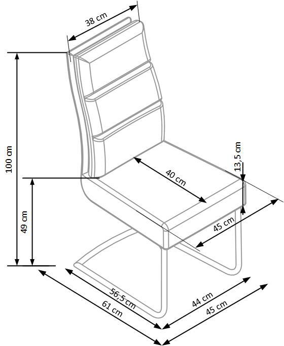 Кафяв стол с мека облегалка от еко кожа и метална основа-схема