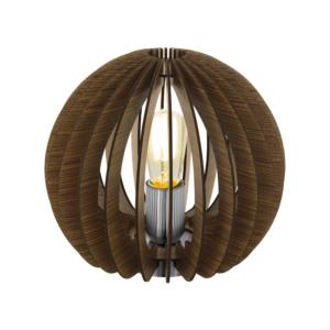 Кафява настолна лампа с дървени ламели серия Cossano