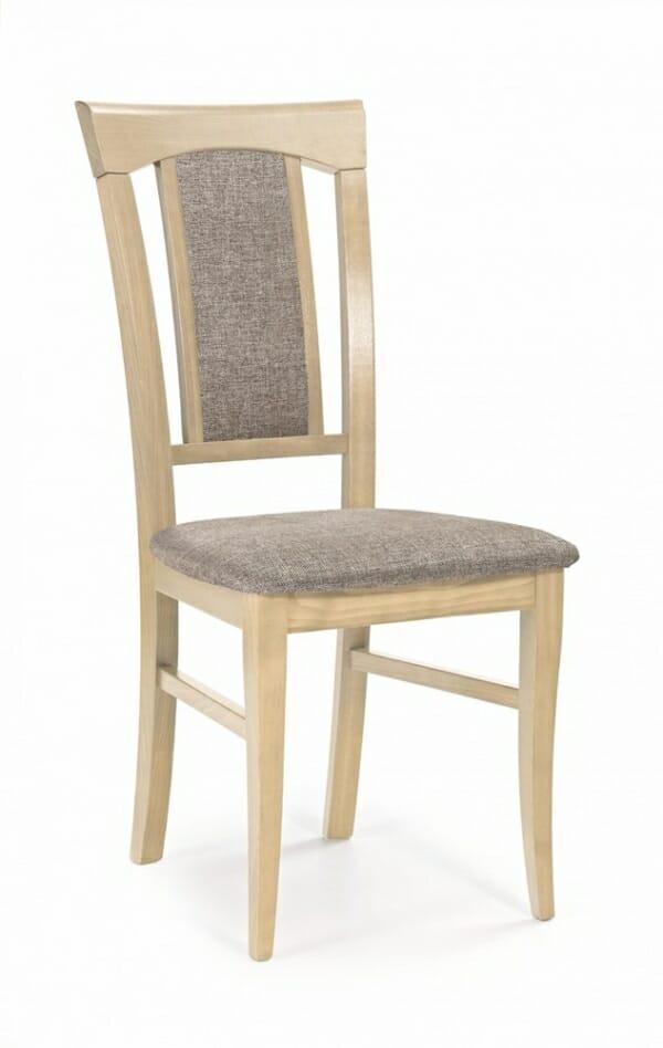 Класически трапезен стол от дърво и дамаска (4 цвята) - дъб сонома