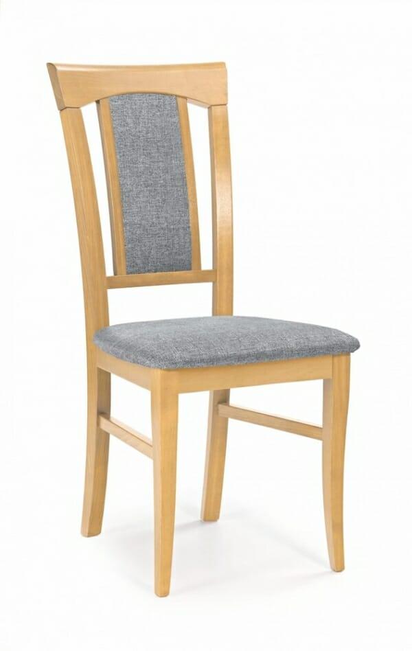 Класически трапезен стол от дърво и дамаска (4 цвята) - меден дъб