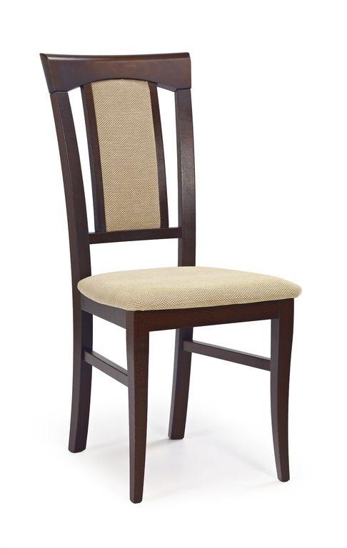 Класически трапезен стол от дърво и дамаска (4 цвята) - тъмен орех