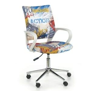 Красив детски стол за бюро с шарена дамаска
