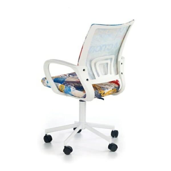 Красив детски стол за бюро с шарена дамаска - гръб