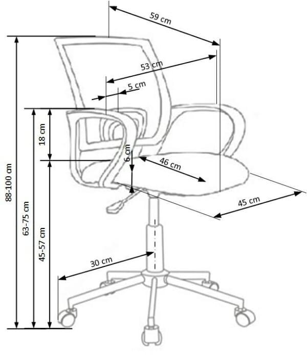 Красив детски стол за бюро с шарена дамаска - схема