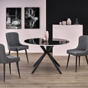Кръгла маса с метални крака и плот в черно и бяло