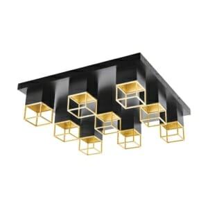 LED плафон с 9 тела в черно и златисто серия Montebaldo