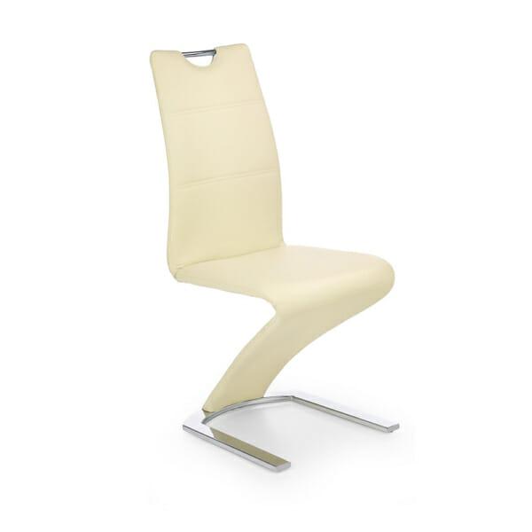 Луксозен стол от еко кожа с футуристичен дизайн (5 цвята)-ванилия