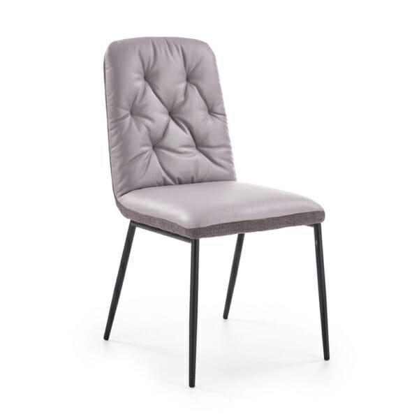 Мек трапезен стол в сиво от еко кожа и текстил
