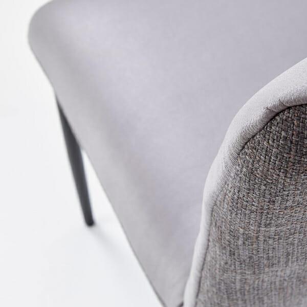 Мек трапезен стол в сиво от еко кожа и текстил-детайл