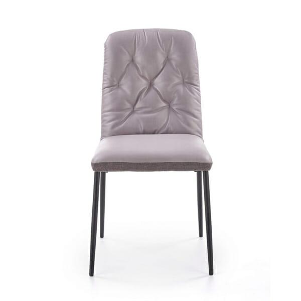 Мек трапезен стол в сиво от еко кожа и текстил-отпред