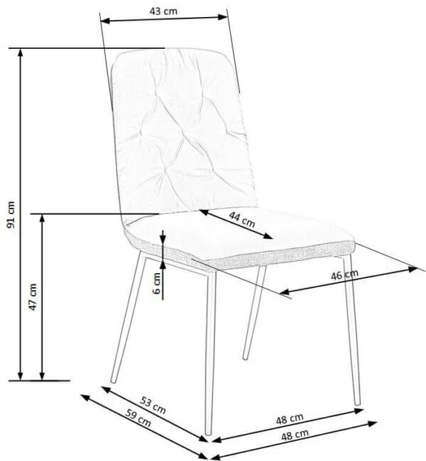 Мек трапезен стол в сиво от еко кожа и текстил-размери