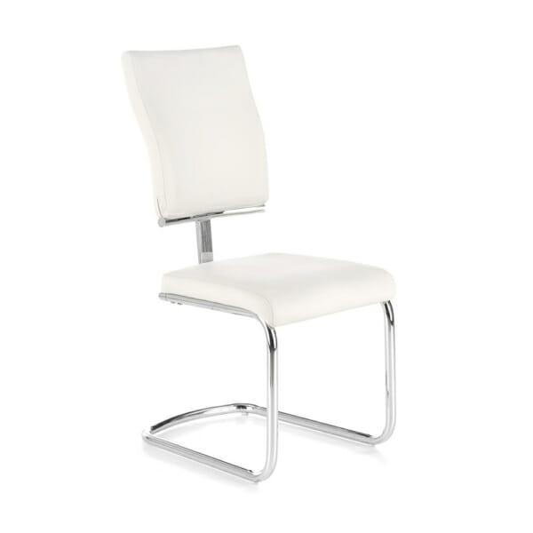 Модерен бял стол от еко кожа с метална основа
