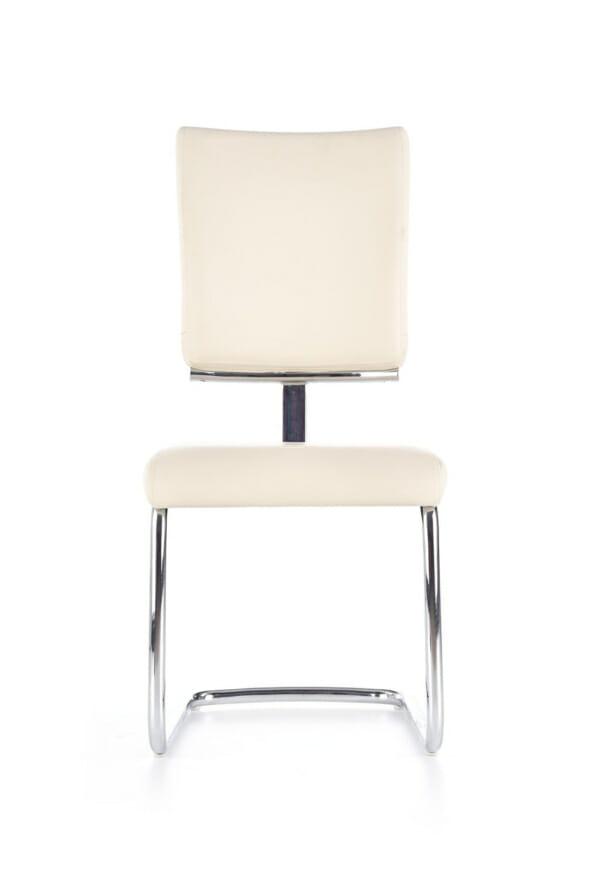 Модерен бял стол от еко кожа с метална основа-отпред