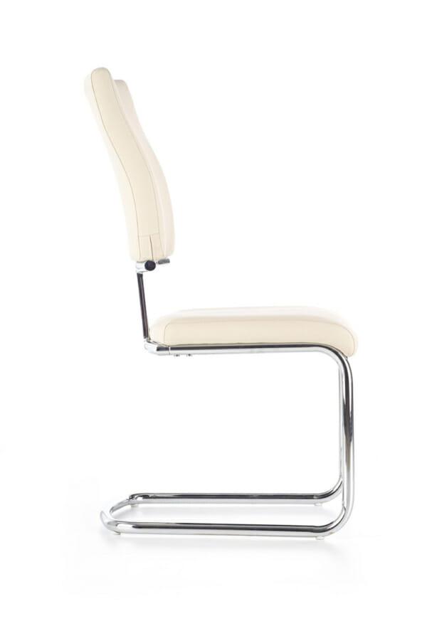 Модерен бял стол от еко кожа с метална основа-отстрани