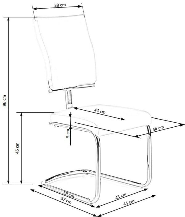 Модерен бял стол от еко кожа с метална основа-схема