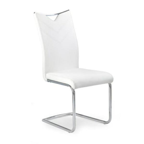 Модерен стол от еко кожа с метална основа (4 цвята)-бял