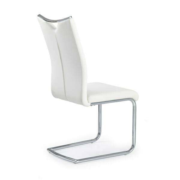 Модерен стол от еко кожа с метална основа (4 цвята)-бял гръб